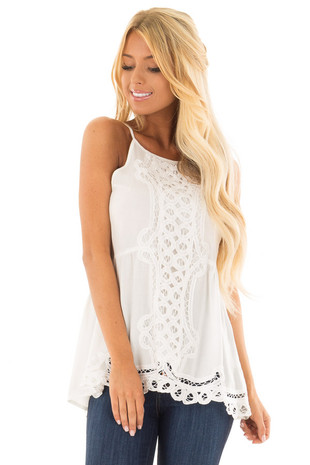 Off White Tank Top with Crochet Front and Scalloped Hem front close up