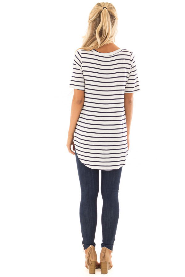 Ivory and Navy Striped Short Sleeve Top with Hi Low Detail back full body