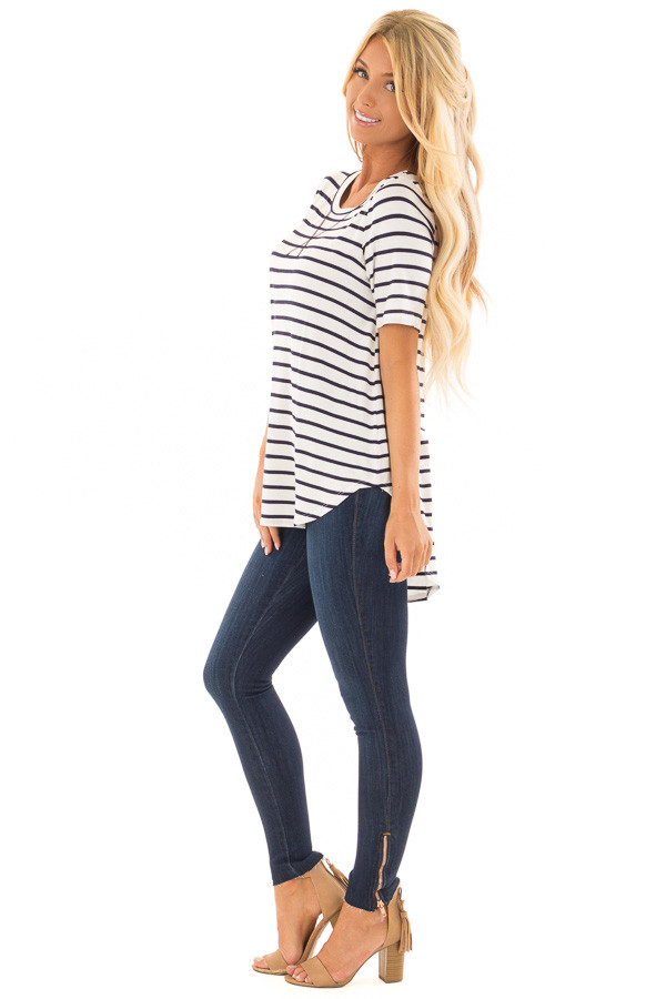Ivory and Navy Striped Short Sleeve Top with Hi Low Detail side full body