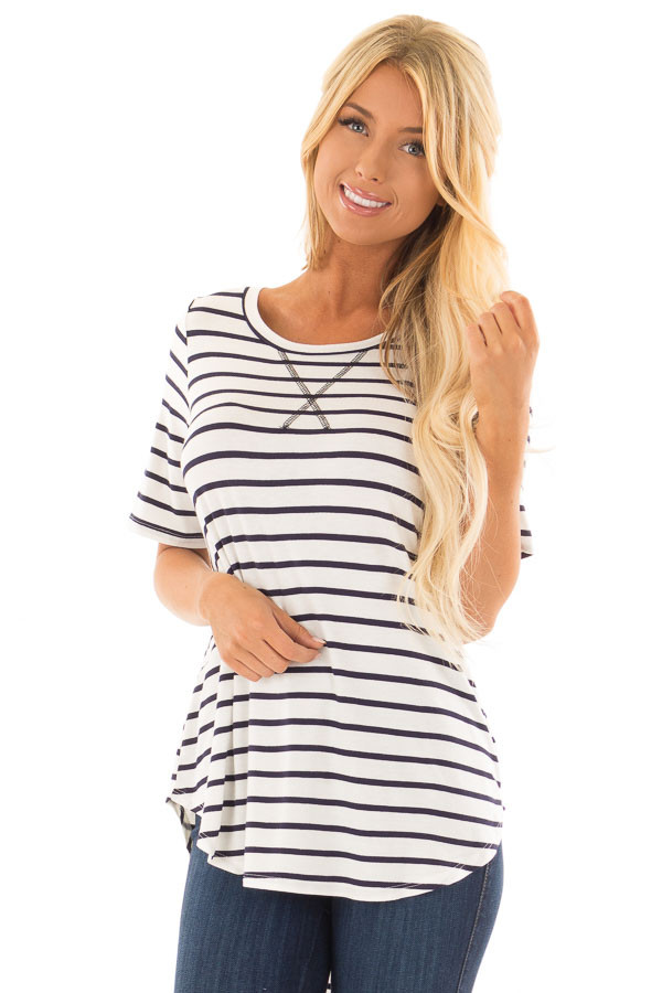 Ivory and Navy Striped Short Sleeve Top with Hi Low Detail front close up