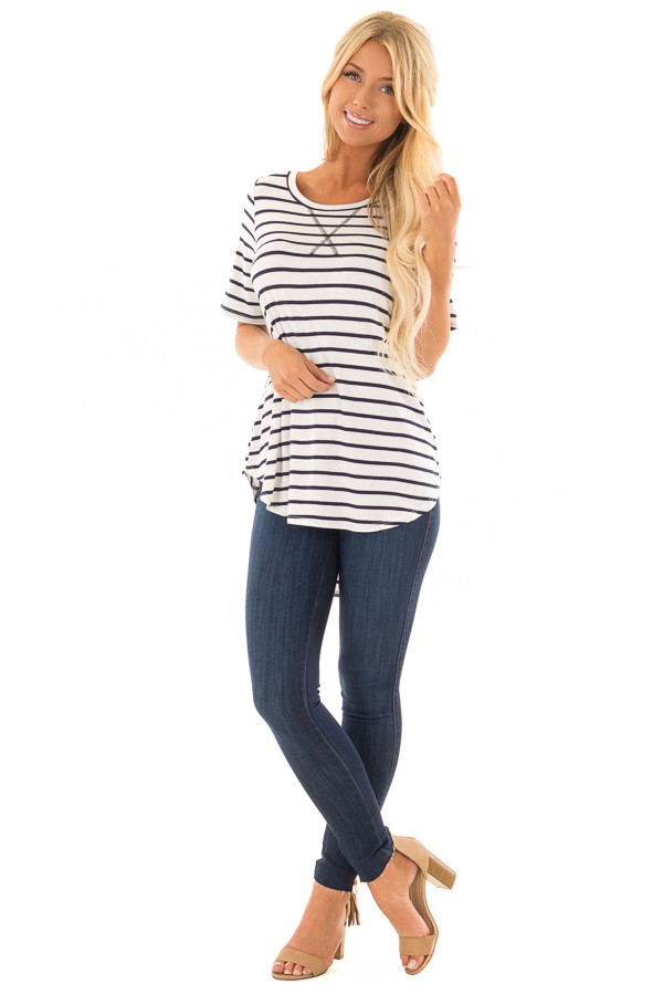 Ivory and Navy Striped Short Sleeve Top with Hi Low Detail front full body