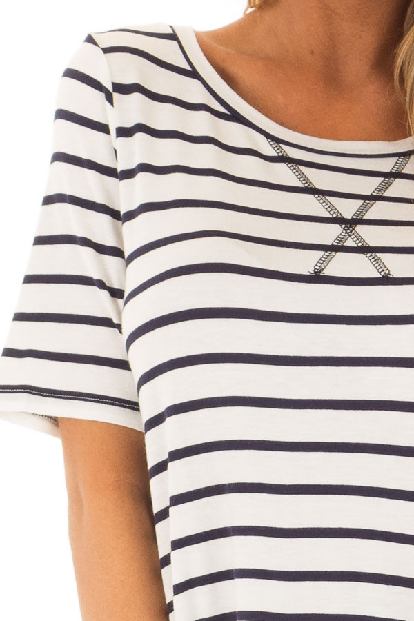 Ivory and Navy Striped Short Sleeve Top with Hi Low Detail detail
