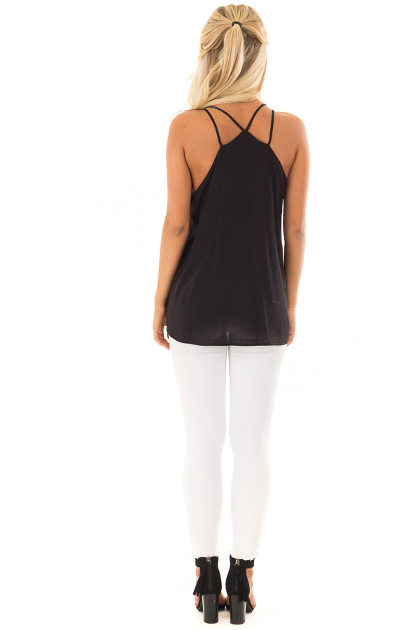 Black Double Strap Embroidered Tank Top back full body