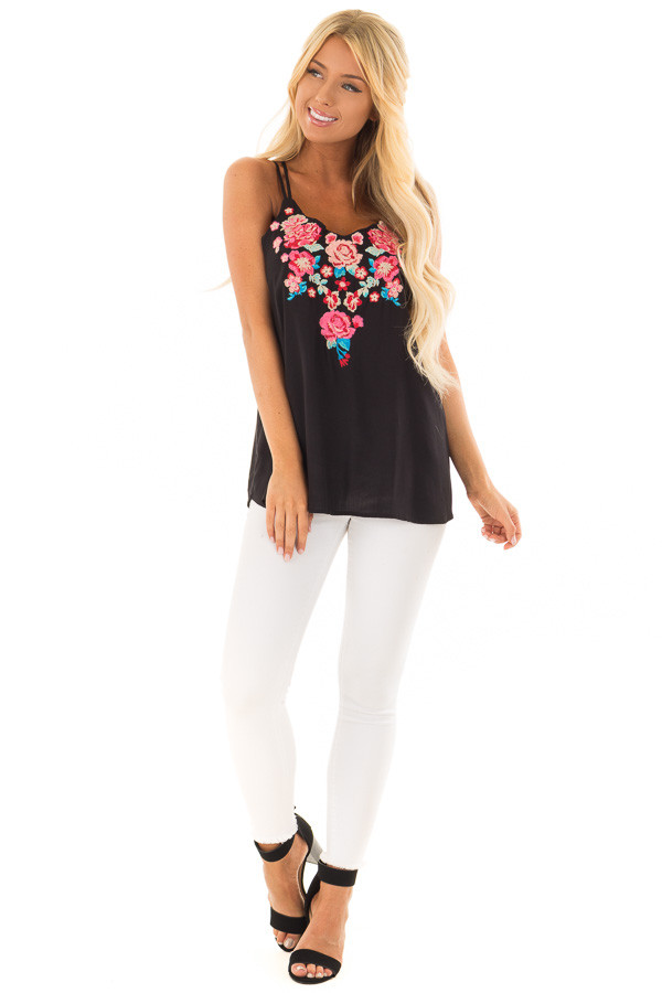 Black Double Strap Embroidered Tank Top front full body