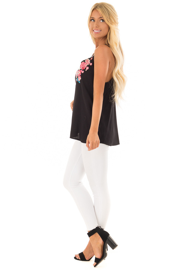 Black Double Strap Embroidered Tank Top side full body
