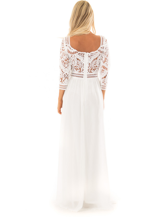 Ivory 3/4 Sleeve Lace Top Maxi Dress back full body