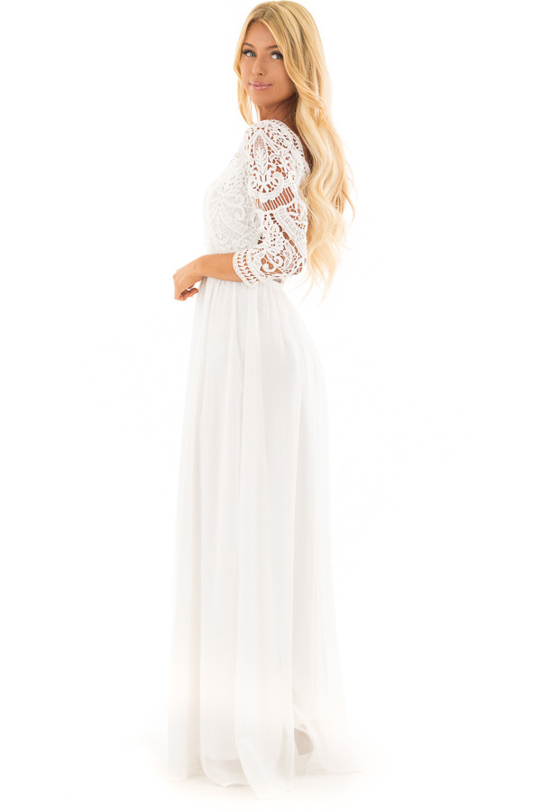 Ivory 3/4 Sleeve Lace Top Maxi Dress side full body