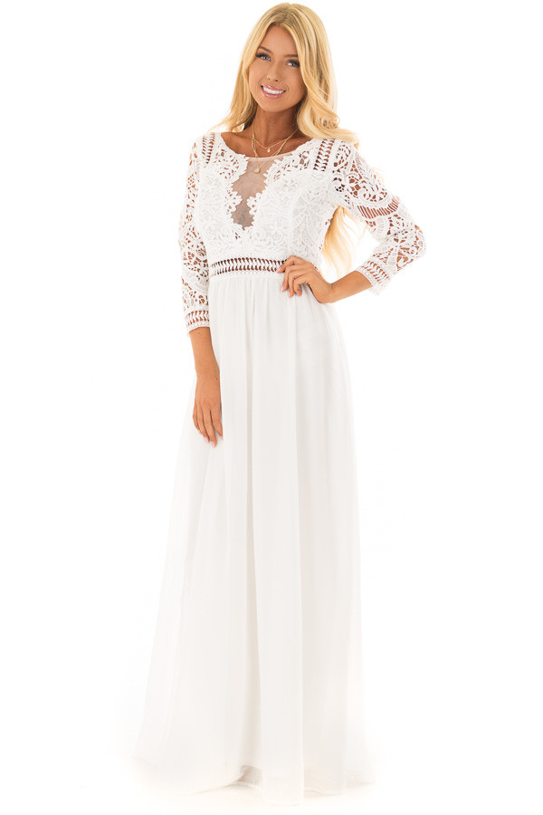 Ivory 3/4 Sleeve Lace Top Maxi Dress front full body