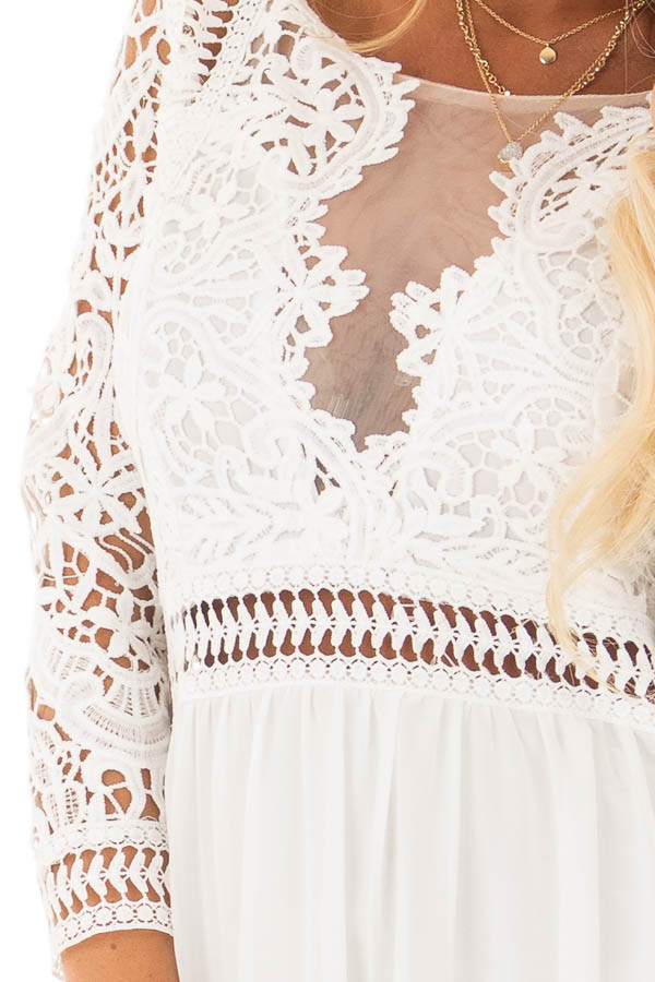 Ivory 3/4 Sleeve Lace Top Maxi Dress front detail