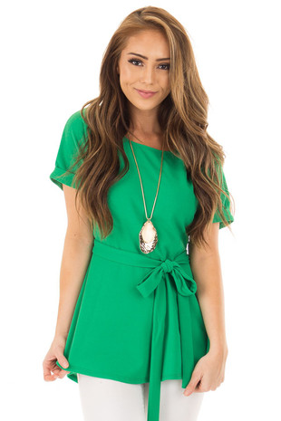 Emerald Top with Waist Tie Detail front closeup