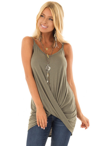 Olive Tank Top with Front Twist Detail front closeup