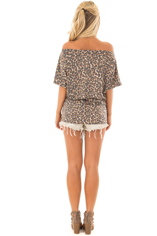 Leopard Print Short Sleeve Top with Front Tie Detail back full body