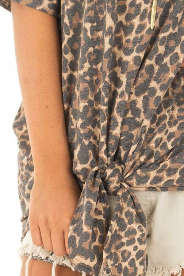 Leopard Print Short Sleeve Top with Front Tie Detail front detail