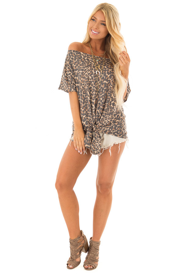 Leopard Print Short Sleeve Top with Front Tie Detail front full body