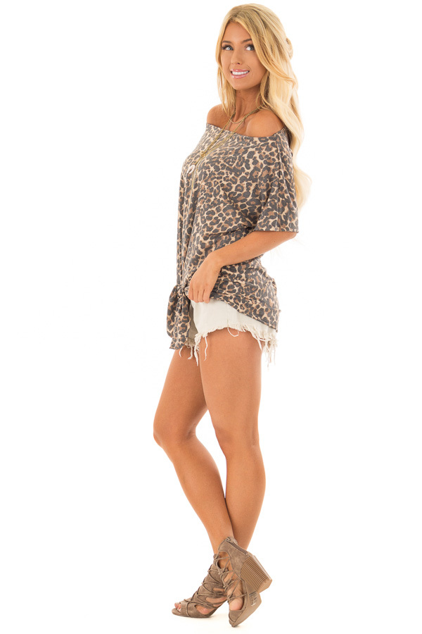 Leopard Print Short Sleeve Top with Front Tie Detail side full body