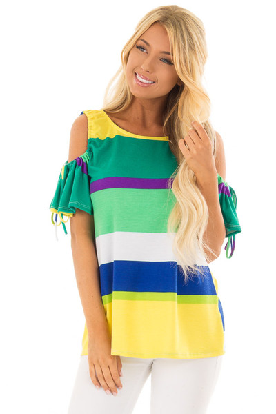 Multicolor Striped Cold Shoulder Top with Tie Sleeve Detail front closeup