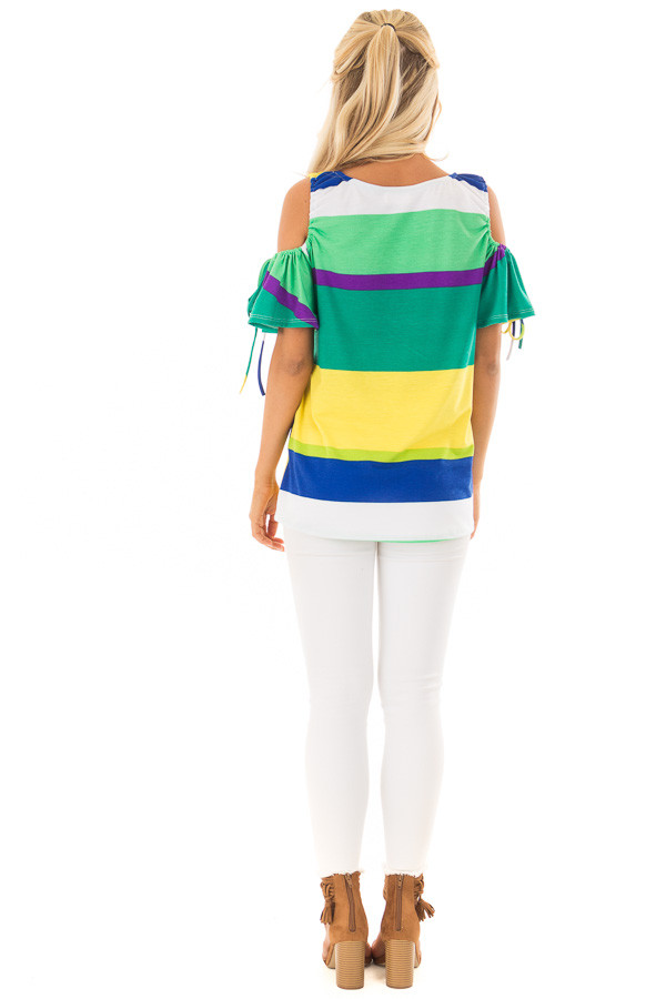Multicolor Striped Cold Shoulder Top with Tie Sleeve Detail back full body