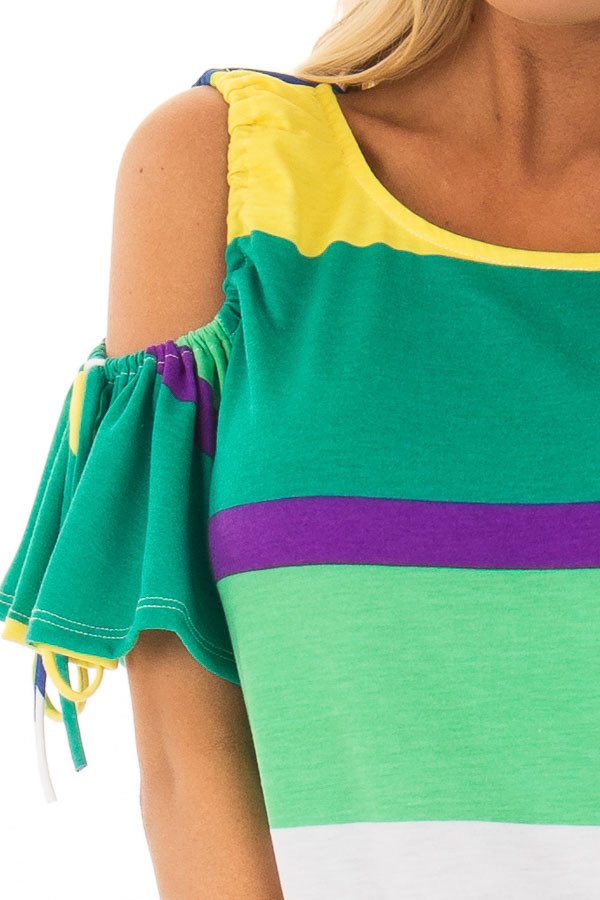 Multicolor Striped Cold Shoulder Top with Tie Sleeve Detail front detail