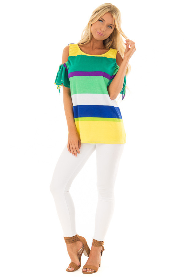 Multicolor Striped Cold Shoulder Top with Tie Sleeve Detail front full body