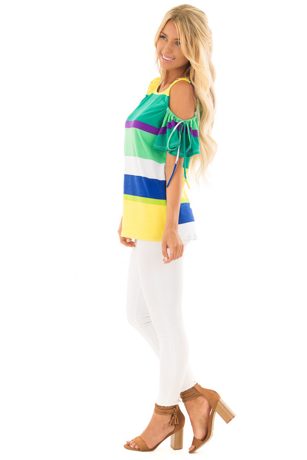 Multicolor Striped Cold Shoulder Top with Tie Sleeve Detail side full body