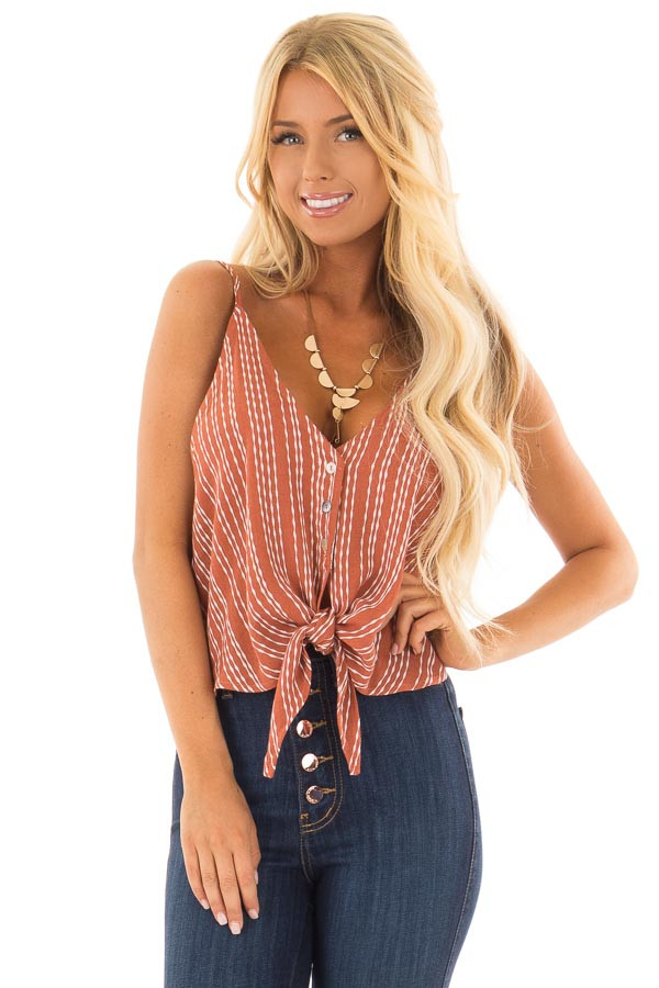 Rust and Ivory Striped Crop Tank Top with Tie Detail front closeup