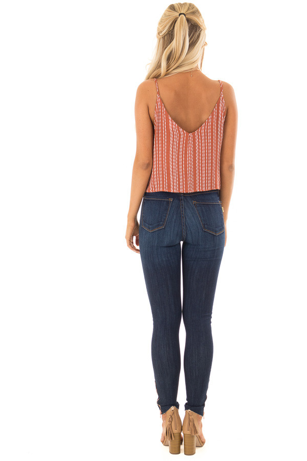 Rust and Ivory Striped Crop Tank Top with Tie Detail back full body