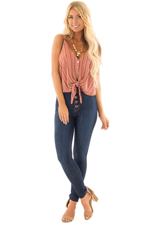 Rust and Ivory Striped Crop Tank Top with Tie Detail front full body