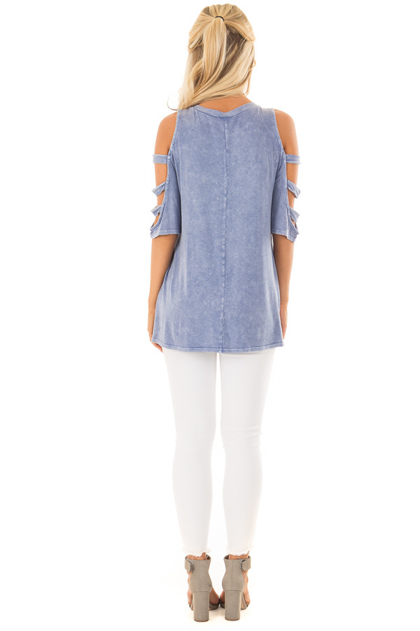 Indigo Blue Mineral Wash Open Sleeve Top with Strap Detail back full body