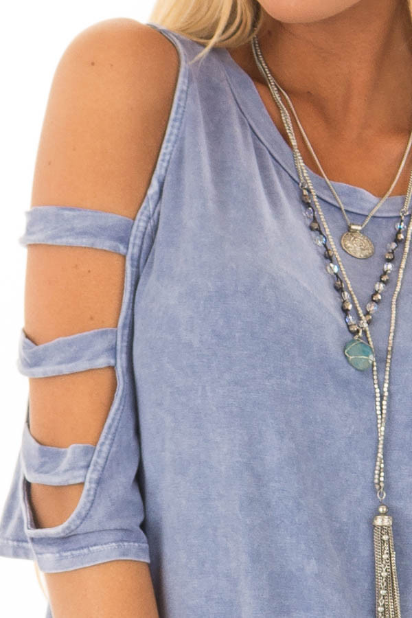 Indigo Blue Mineral Wash Open Sleeve Top with Strap Detail front detail