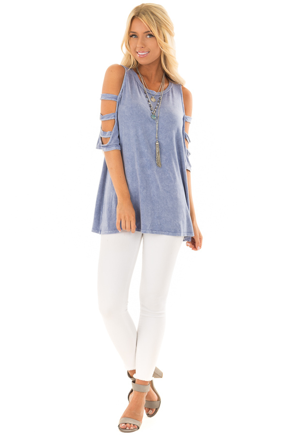 Indigo Blue Mineral Wash Open Sleeve Top with Strap Detail front full body
