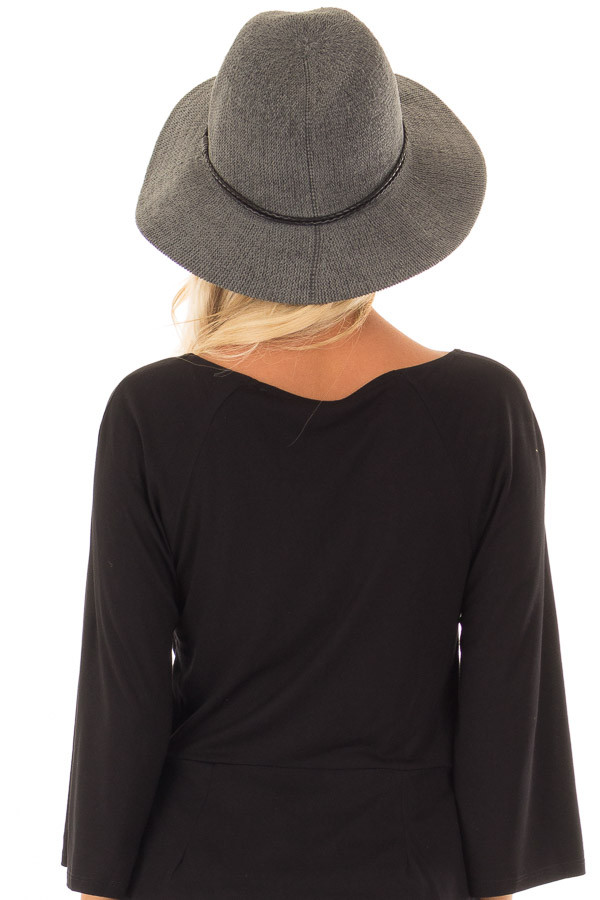Mossy Grey Knitted Velvet Panama Hat with Black Trim back