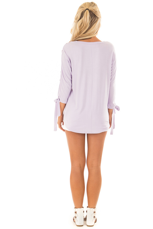 Lavender Top with Zig Zag Open Sleeves and Tie Detail back full body