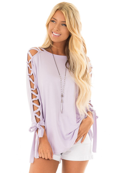 Lavender Top with Zig Zag Open Sleeves and Tie Detail front closeup