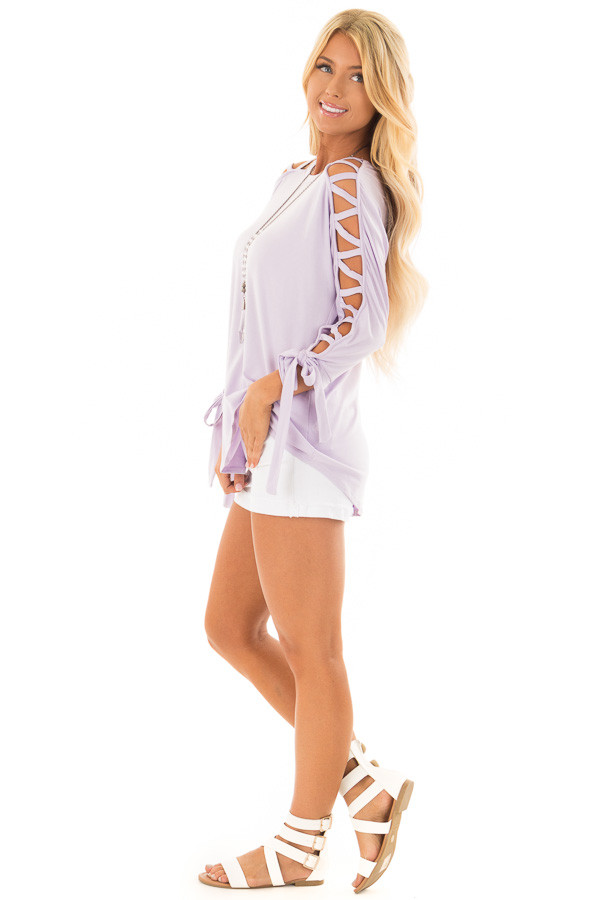 Lavender Top with Zig Zag Open Sleeves and Tie Detail side full body