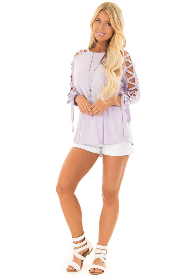 Lavender Top with Zig Zag Open Sleeves and Tie Detail front full body