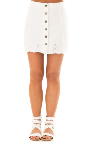 White Denim Button Up Mini Skirt with Distressed Hem front
