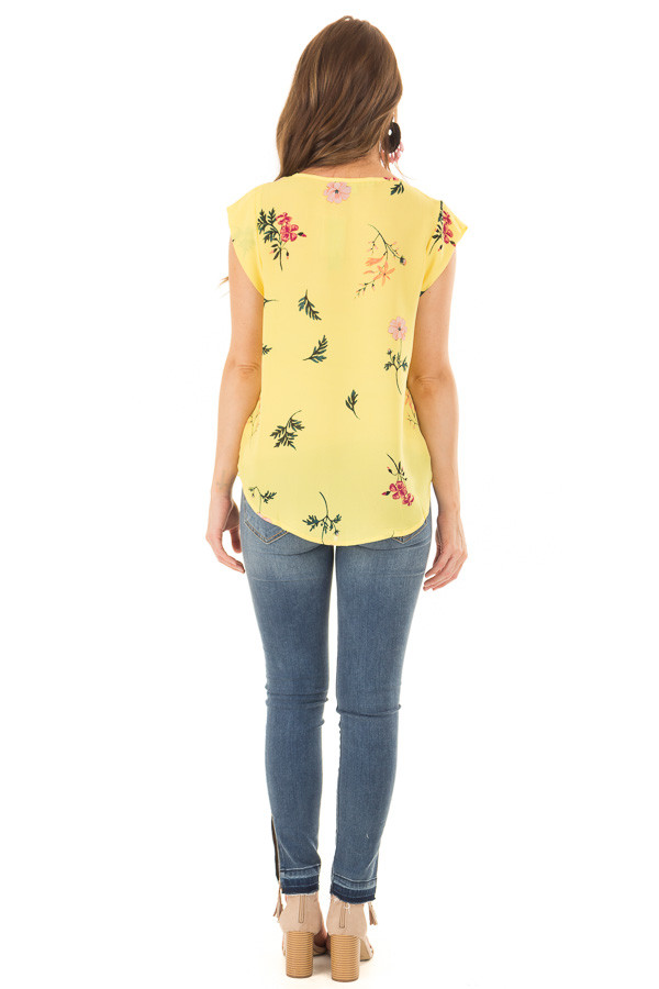 Sunshine Yellow Floral Print Button Up Blouse back full body