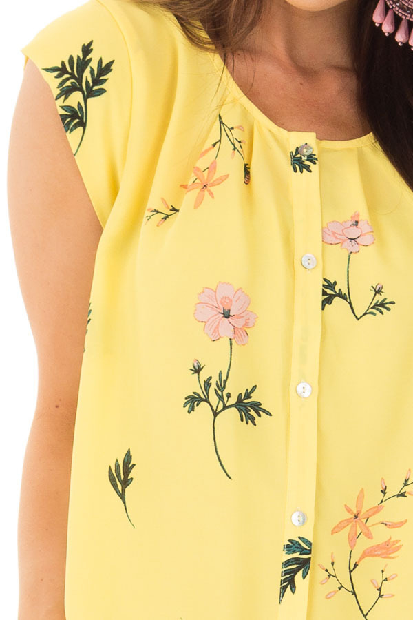 Sunshine Yellow Floral Print Button Up Blouse front detail