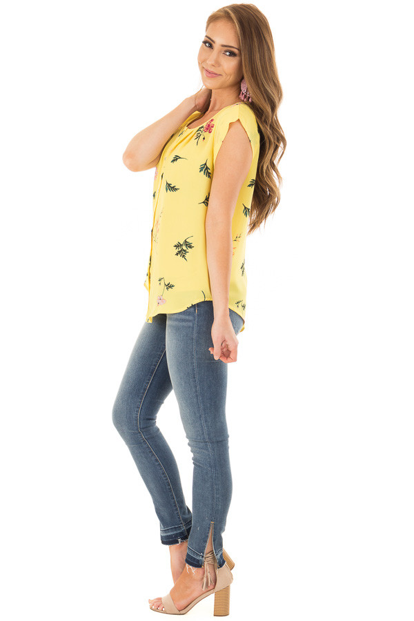Sunshine Yellow Floral Print Button Up Blouse side full body
