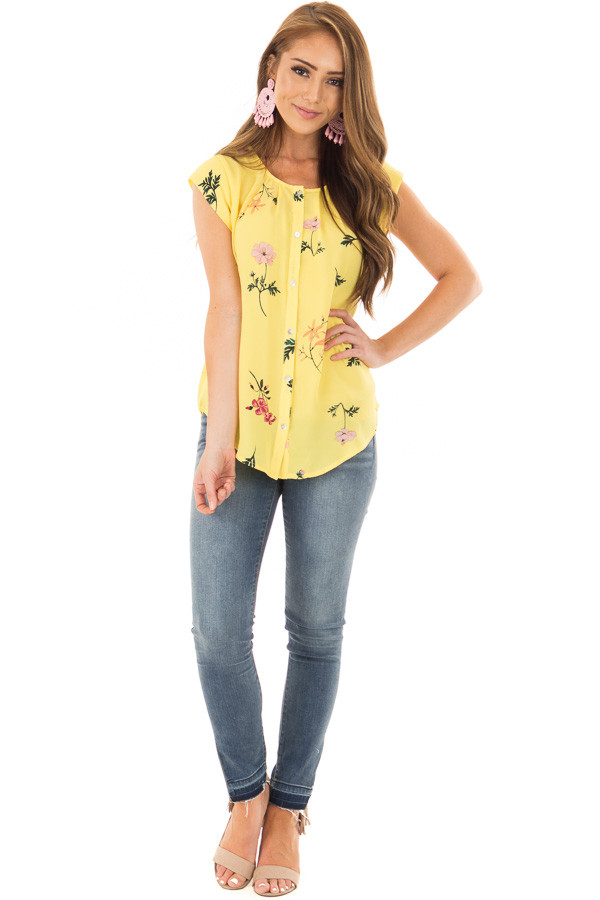 Sunshine Yellow Floral Print Button Up Blouse front full body