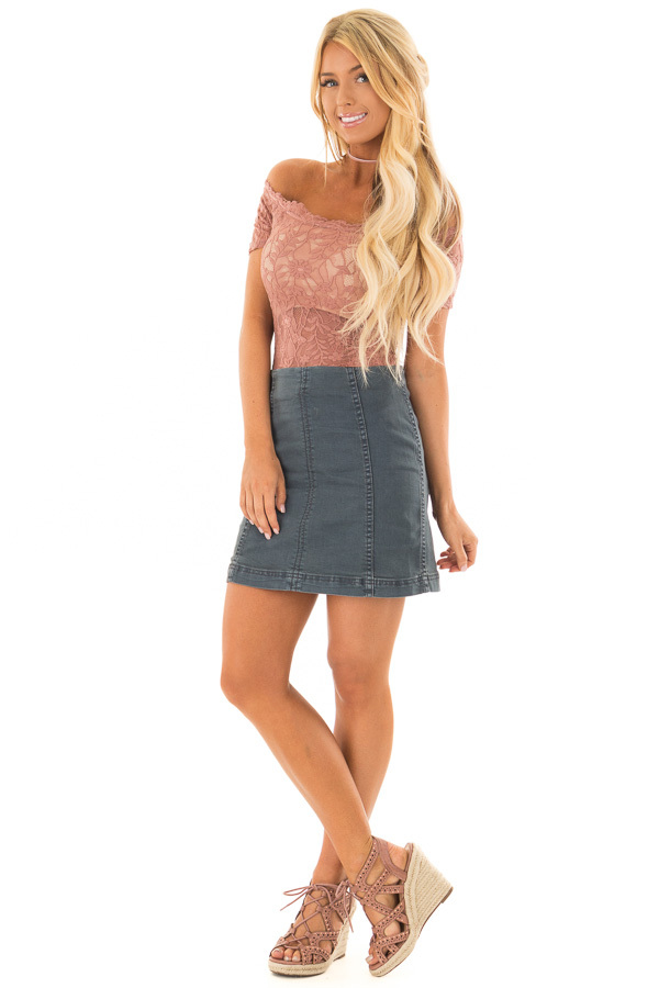 Dusty Rose Off the Shoulder Sheer Lace Bodysuit front full body