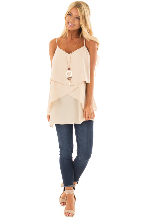 Nude Flowy Layered Tank Top front full body