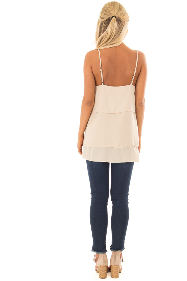 Nude Flowy Layered Tank Top back full body