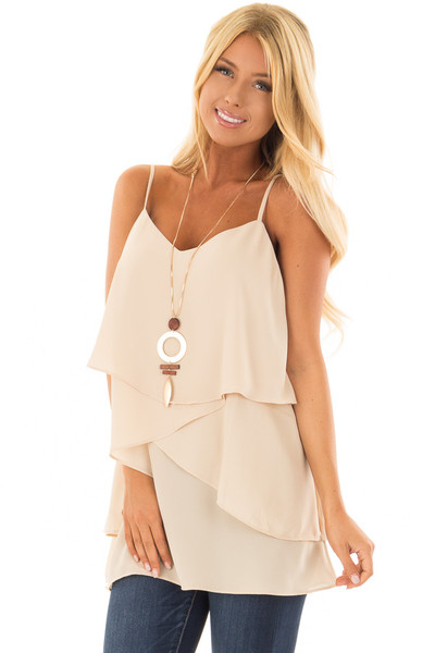 Nude Flowy Layered Tank Top front closeup