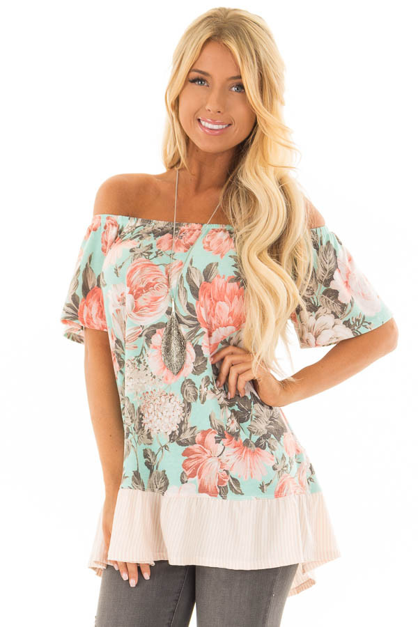 Mint Floral Off the Shoulder Top with Striped Ruffle Hem front closeup