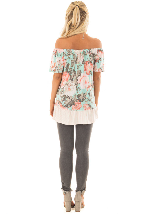 Mint Floral Off the Shoulder Top with Striped Ruffle Hem back full body