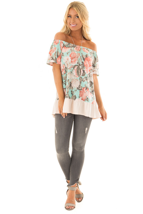 Mint Floral Off the Shoulder Top with Striped Ruffle Hem front full body