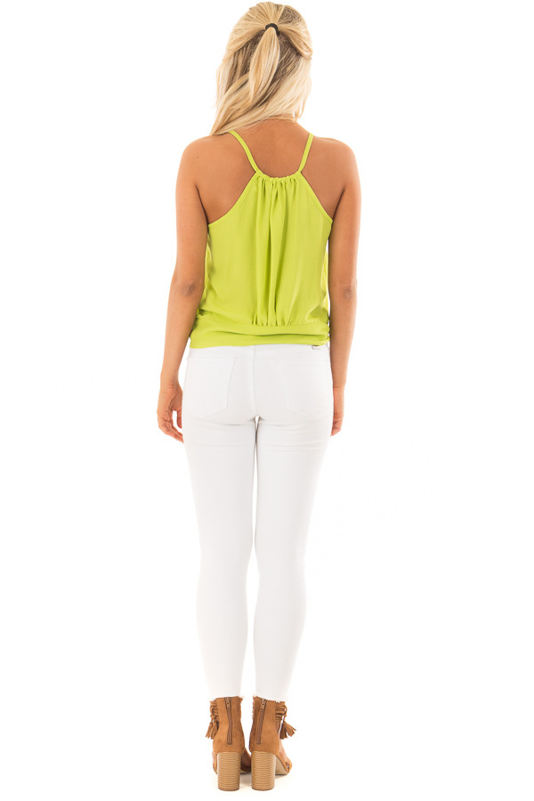 Lime Green Button Down Tank Top with Front Tie Detail back full body