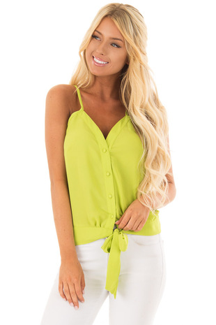 Lime Green Button Down Tank Top with Front Tie Detail front closeup