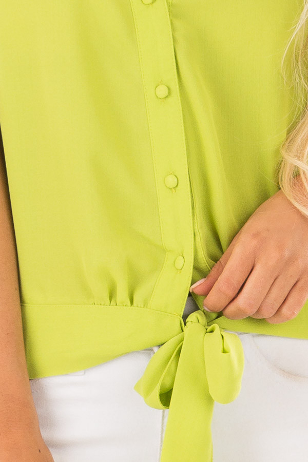 Lime Green Button Down Tank Top with Front Tie Detail front detail